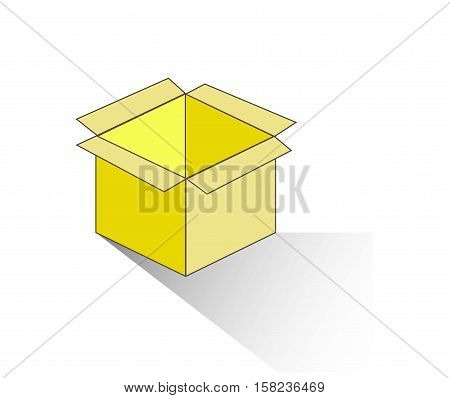 Yellow opened box icon with grey shadow on white, vector illustration