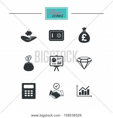 Money, cash and finance icons. Handshake, safe and calculator signs. Chart, safe and jewelry symbols. Black flat icons. Classic design. Vector