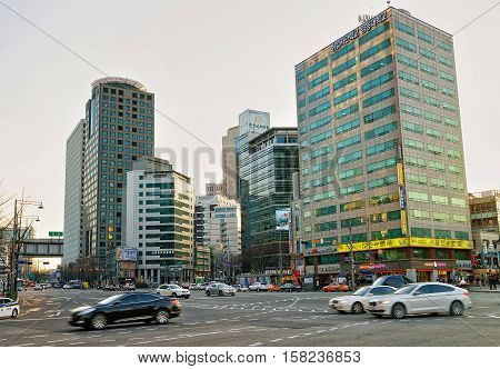 City Life With Skyscrapers And Traffic Of Jung District Seoul
