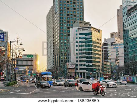 City Life With Skyscrapers And Traffic In Jung District Seoul