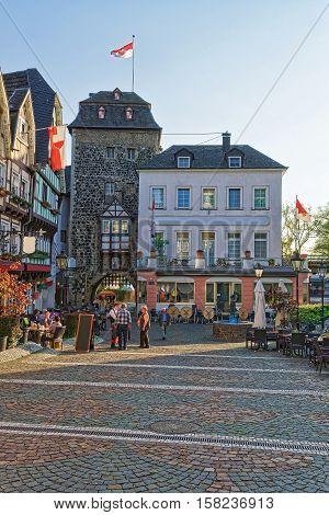 City Tower And Street Market Marktplatz In Linz Am Rhein