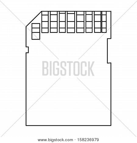 SD card icon in outline style isolated on white background. Personal computer symbol vector illustration.