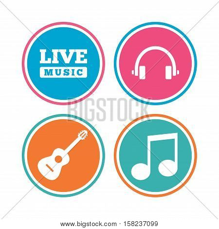Musical elements icons. Musical note key and Live music symbols. Headphones and acoustic guitar signs. Colored circle buttons. Vector