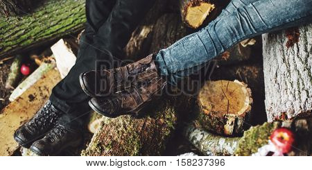 Human Leg Wood Log Sitting Relaxation Vacation Concept