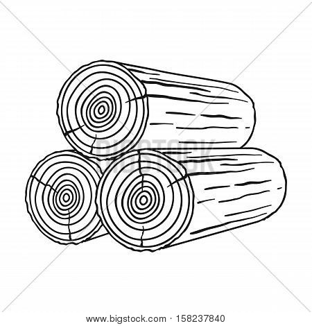 Stack of logs icon in  style isolated on white background. Sawmill and timber symbol vector illustration.