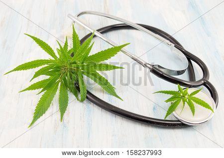 Marijuana Leaf And Stethoscope. Alternative Medicine
