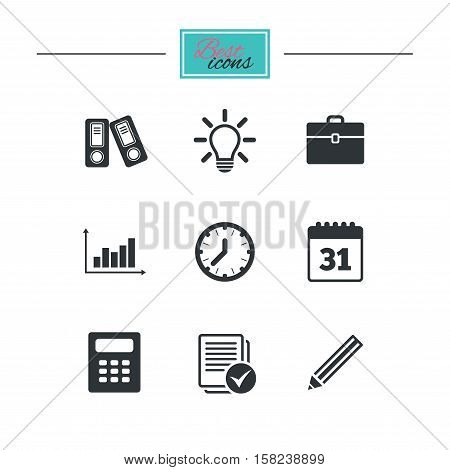 Office, documents and business icons. Accounting, calculator and case signs. Ideas, calendar and statistics symbols. Black flat icons. Classic design. Vector