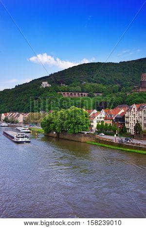 Embankment Of Neckar River And Ship In Heidelberg Germany