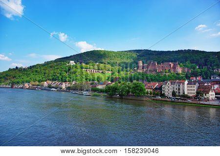 Embankment Of Neckar River In Heidelberg Of Germany