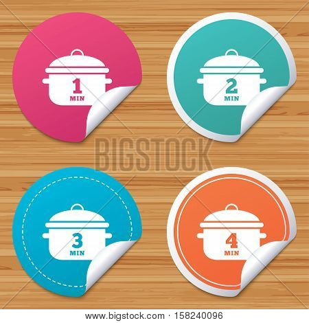 Round stickers or website banners. Cooking pan icons. Boil 1, 2, 3 and 4 minutes signs. Stew food symbol. Circle badges with bended corner. Vector