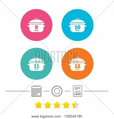 Cooking pan icons. Boil 9, 10, 11 and 12 minutes signs. Stew food symbol. Calendar, cogwheel and report linear icons. Star vote ranking. Vector