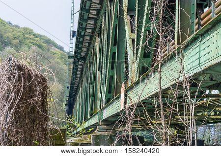 Railway bridge of steel for pedestrians and cyclists on the Ruhr in Essen Kupferdreh.
