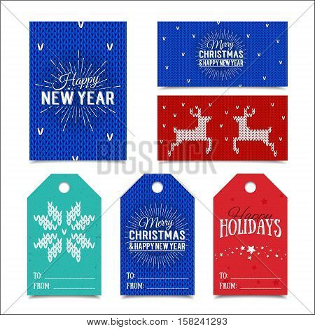 Collection of knitted Norwegian Christmas card templates. Colorful New Year present tags made in vector. Name cards for presents with Happy Holidays, Merry Christmas and Happy New Year lettering