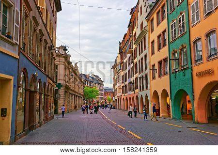 Grandes Arcades Street In Strasbourg In France