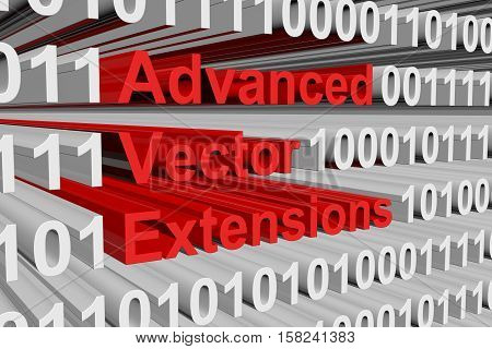 Advanced Vector Extensions in the form of binary code, 3D illustration
