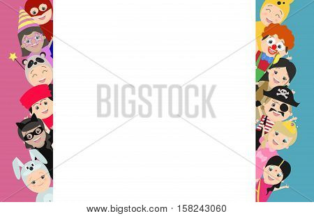 Background with children in carnival costumes. Looks out on both sides. Vector cartoon