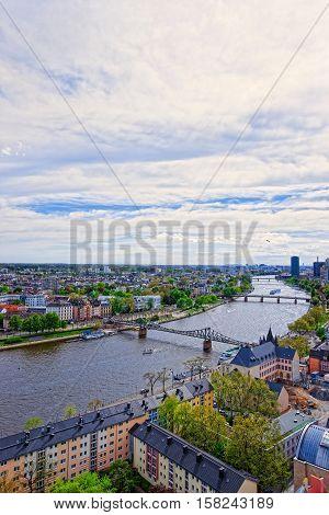 Iron Bridge Above Main River In Frankfurt Am Main