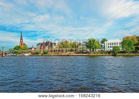 Iron Bridge And Main River In Frankfurt Am Main