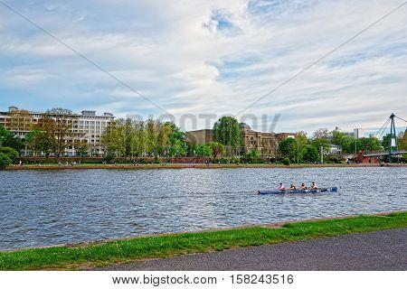 Kayak In Main River In Frankfurt Am Main