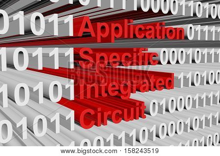 application specific integrated circuit in the form of binary code, 3D illustration