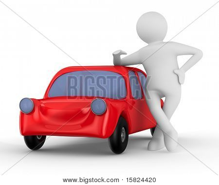 Red car and man. Isolated 3D image