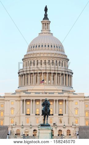 United States Capitol building in Washington DC at sunset.