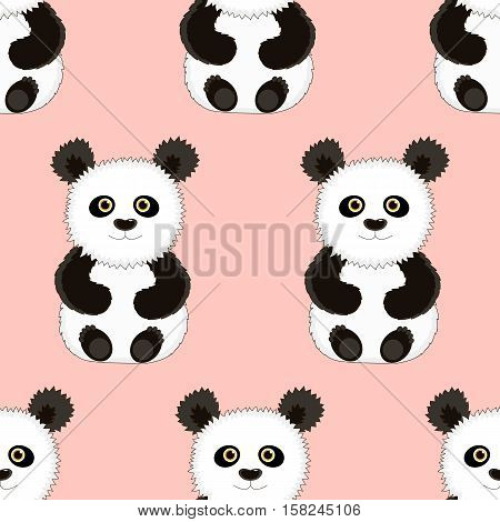 Seamless pink background with a picture of a cute funny Panda. Vector illustration. Good background for textile fabric wrapping paper.