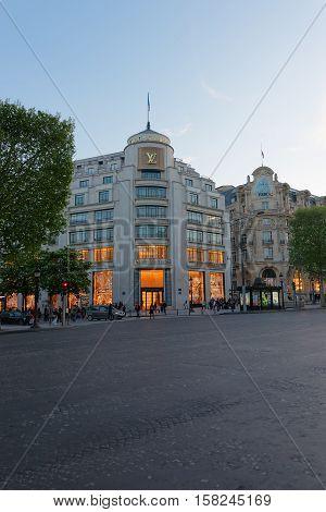 Louis Vuitton Flagman Store At Avenue Of Champs Elysees Paris