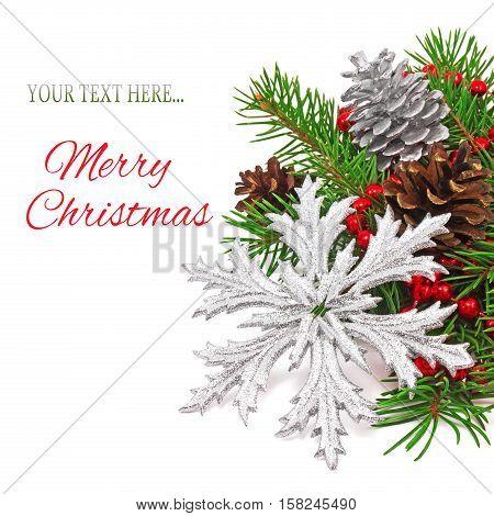 Christmas Decoration Snowflake On A Fir Tree