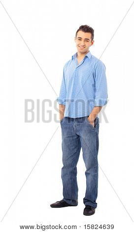 junger Mann isolated over white background