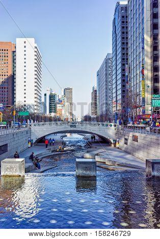 Mojeongyo Bridge Crosses Cheonggyecheon Public Recreation Walkway In Seoul