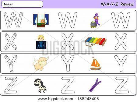 Cartoon Witch, Window, X-ray Boy, Xylophone, Yak, Yacht, Zebra And Zipper. Alphabet Tracing Workshee