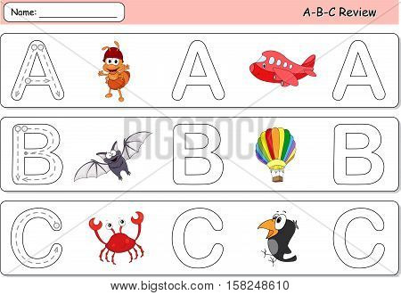 Cartoon Ant, Aircraft, Bat, Balloon, Crow And Crab. Alphabet Tracing Worksheet