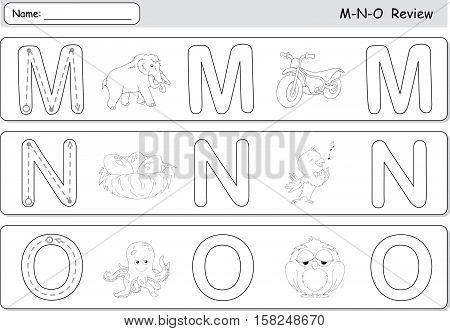 Cartoon Mammoth, Motorcycle, Nightingale, Nest, Octopus And Owl. Alphabet Tracing Worksheet