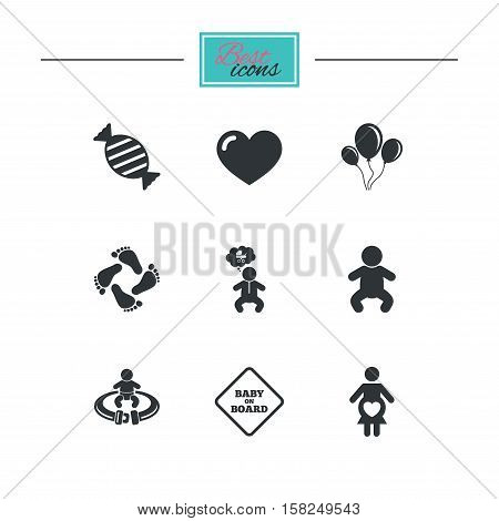 Pregnancy, maternity and baby care icons. Candy, strollers and fasten seat belt signs. Footprint, love and balloon symbols. Black flat icons. Classic design. Vector
