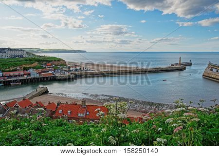 Pier In North Sea At Whitby Of North Yorkshire Uk