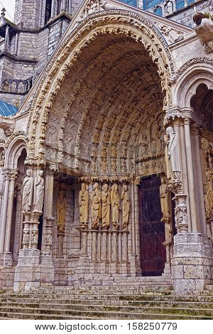 Portal In Cathedral Of Our Lady Of Chartres  In France