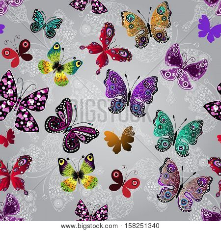 Seamless gray gradient pattern with bright colorful and white lace butterflies vector