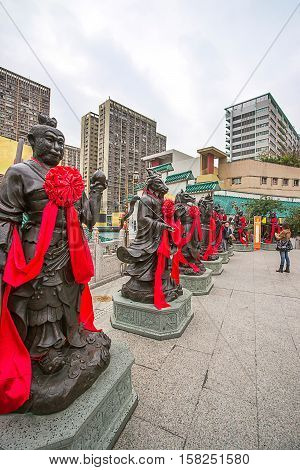 Religious Statues In Wong Tai Sin Temple Of Kowloon Hk