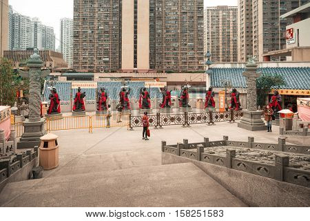 Religious Statues In Wong Tai Sin Temple In Kowloon Hk