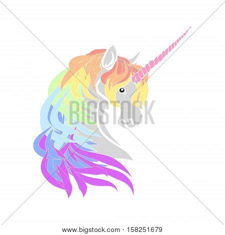 Rainbow unicorn head silhouette on a white background. Vector illustration