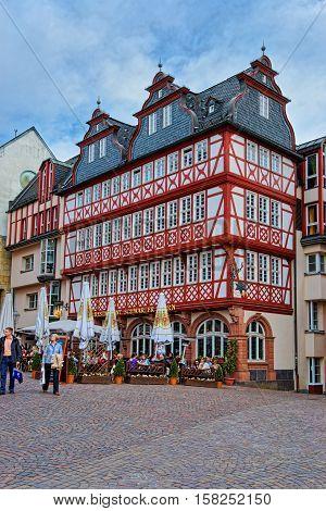 Romerberg In The City Center Of Frankfurt Germany