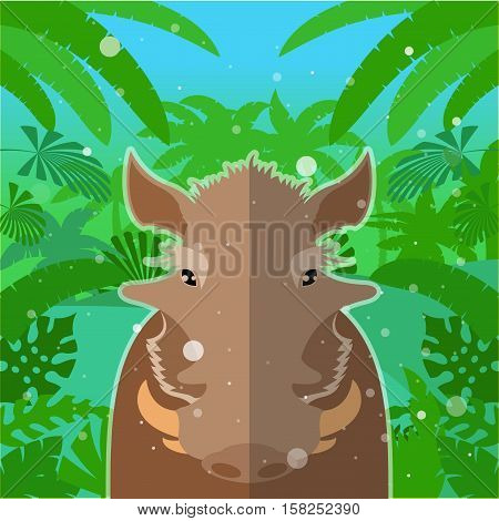 Flat Vector image of the Wart-hog on the Jungle Background