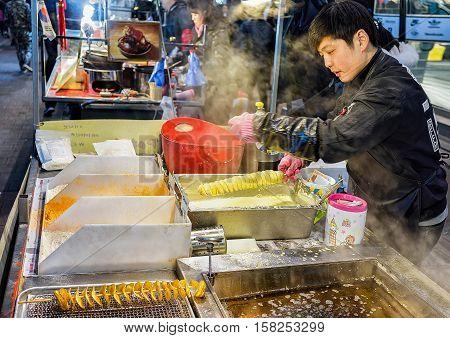 Seller Of Potato Chips At Myeongdong Open Street Market Seoul