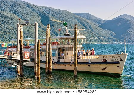Ship With Tourists In Ascona In Ticino In Switzerland