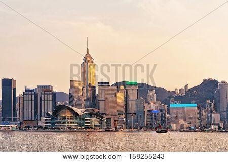 Small Junk At Victoria Harbor In Hong Kong