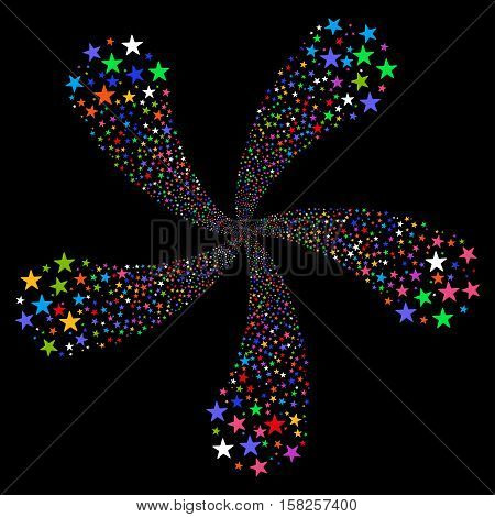 Star Fireworks Flower With Five Petals vector illustration. Style is bright multicolored flat stars, black background.