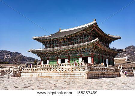 Throne Hall And People At Gyeongbokgung Palace Seoul