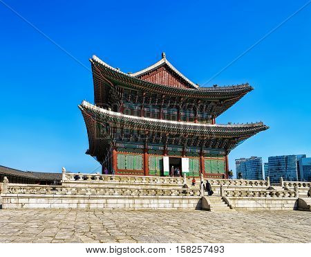 Throne Hall And People At Gyeongbokgung Palace Of Seoul