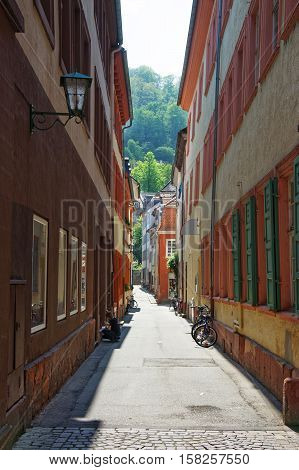Tight Street In Old Town In Heidelberg In Germany